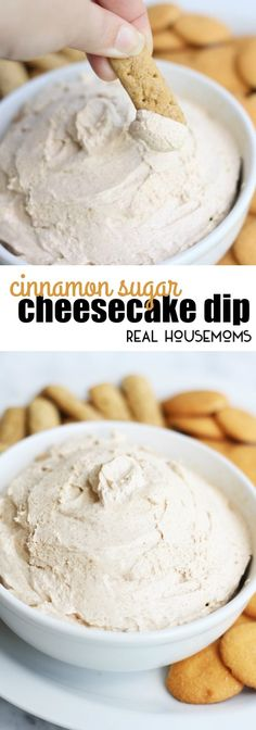 This Cinnamon Cheesecake Dip makes a great appetizer for any party. It's an easy sweet dip recipe, that will be ready in minutes! via @realhousemoms