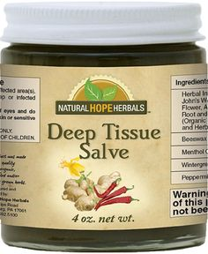 DEEP TISSUE WARMING MASSAGE SALVE The same herbs and essential oils as are in Deep Tissue Oil. Can be used for the same purposes but with less mess. Salve tends to be easier to apply as it doesn't run