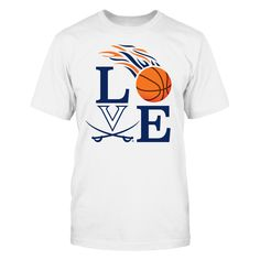 LOVE Virginia Cavaliers Basketball T-Shirt, Love Virginia Cavaliers Basketball with flaming featuring flaming basketball for every shot that goes in.  The Virginia Cavaliers Collection, OFFICIAL MERCHANDISE  Available Products:          District Men's Premium T-Shirt - $27.95 District Women's Premium T-Shirt - $29.95 Gildan Unisex T-Shirt - $25.95 Gildan Women's T-Shirt - $27.95 Gildan Unisex Pullover Hoodie - $49.95 Next Level Women's Premium Racerback Tank - $29.95 Gildan Long-Sleeve…