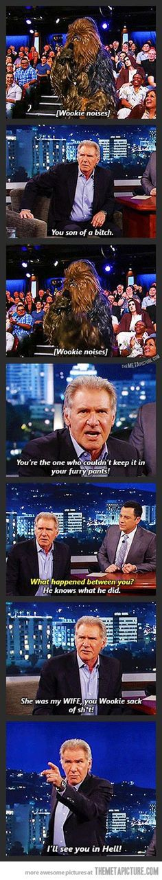 Too funny not to pin. Harrison Fords reunion with Chewbacca during an interview.