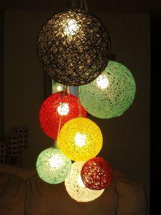 Huge 7 Sphere Light Hanging Cluster Chandelier by StuffByJenB