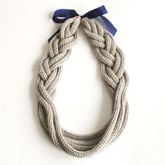 Braid Necklace, hand-knitted - Pale Grey