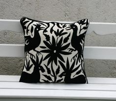 Large Black Otomi Pillow