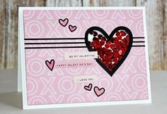 Vaentines shaker card by Nichol Magouirk using the Simon Says Stamp February card kit!