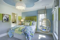 Gorgeous green and blue girls' bedroom