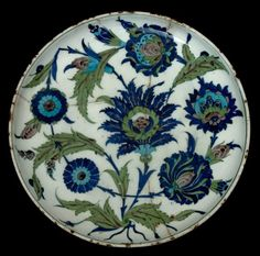 Dish with Saz Spray Decoration   Harvard Art Museums