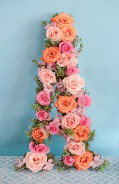 A Pretty DIY for an Alphabet-Themed Birthday Party - this floral letter is so chic!