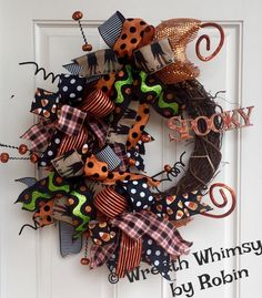 "Halloween Grapevine Deco Mesh Ribbon Wreath with ""Spooky"" Sign, Fall Wreath, Autumn Wreath, Front Door Wreath by WreathWhimsybyRobin on Etsy"