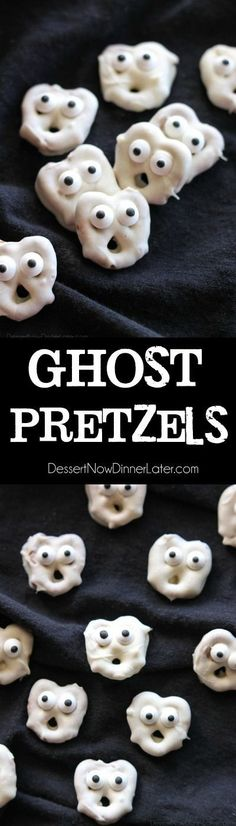 Screaming Ghost Pretzels are fun to make for Halloween! Ghost Pretzels - White chocolate dipped pretzels are made into ghosts with candy eyes and a little bit of imagination. Perfect for a Halloween party! Halloween Desserts, Halloween Party Snacks, Hallowen Food, Halloween Goodies, Snacks Für Party, Halloween Cupcakes, Halloween Kids, Halloween Sale, Happy Halloween