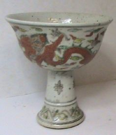 CHINESE PORCELAIN Stem Cup MING Dynasty c1400