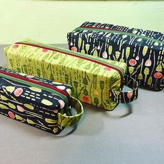Annex Double-Zip Box Pouches, made using Spoonflower fabric.  Pattern at SewSweetness.com