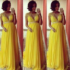 Yellow Baby Shower Party Dresses,Maternity Dresses,Plus Size Party Dresses,Custom Made Party Dresses,Cap Sleeve Dresses,Long Dresses for Pregnant Women,Empire Waist Dresses