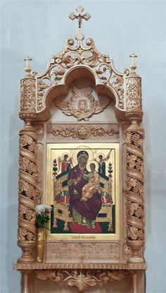 Mirror Photo Frames, Picture Frames, Wall Mirror, Religious Icons, Religious Art, Images Of Mary, Puja Room, Floral Tattoo Design, Prayer Room