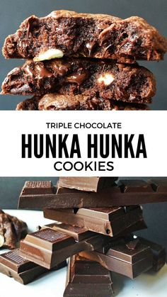 For all of the chocolate lovers out there, this is the ultimate triple chocolate chunk cookie with 3 kinds of chocolate. It's the perfect combination of a rich chocolate brownie and a warm cookie. It's the best triple chocolate cookie recipe I have ever Best Chocolate Cookie Recipe Ever, Triple Chocolate Cookies, Best Cookie Recipes, Baking Recipes, Chocolate Torte, Chocolate Desserts, Chocolate Chips, White Chocolate, Candy Cookies
