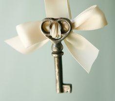 vintage key with satin ribbon