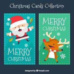 Nette Weihnachtskarten Sammlung Premium Vektoren