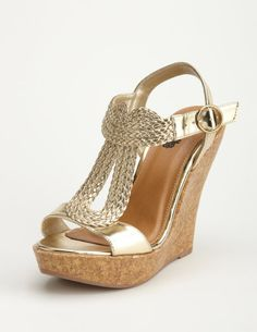 On sale for $25.50 #shoes #wedges #gold