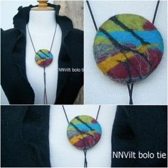 Wat is een bolotie? Felted Jewelry, Textile Jewelry, Handmade Jewelry, Wet Felting, Needle Felting, Felt Necklace, Textiles, Bolo Tie, Fabric Beads