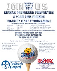 May 8, 2014: Charity Golf Tournament at Egwani Farms Golf Course to benefit East Tennessee Children's Hospital.