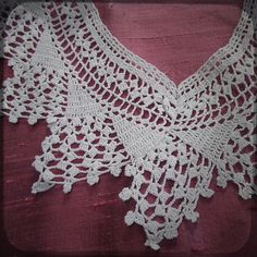 Antique Handcrocheted French White Collar Lace - Vintage Fine Handmade Fashion from France