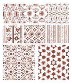 Mehndi Seamless Tiles (Vector) Royalty Free Stock Vector Art Illustration