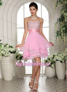 Pink Sweetheart Short-Length Layered Graduation Dress for Grade 8 in Kinross