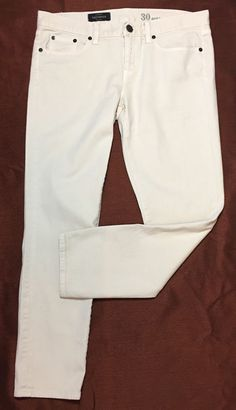 J Crew Toothpick Jeans 30 Pants Ankle Skinny Stretch Low-rise Ecru Off White   | eBay