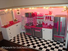 Great AG doll kitchen - love the counters added to the kitchen set and the lights