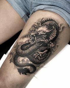Dragon Tattoo Styles, Dragon Tattoo Back, Dragon Tattoos For Men, Dragon Sleeve Tattoos, Back Tattoos For Guys, Japanese Dragon Tattoos, Dragon Tattoo Designs, Tattoo Designs Men, Leg Tattoos