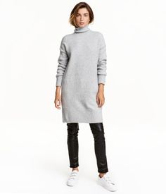 Long Turtleneck Sweater | Light gray melange | Ladies | H&M US