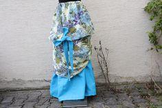 Maxiröcke - Mode Rock lang Leinen türkis lila Blume Schleife - ein Designerstück…