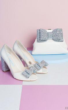 493055d8b2d3 Silver glitter bow and heel Charlotte Mills wedding shoes   glitter bow  handbag