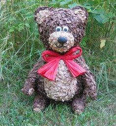 CLEARANCE - Brown Teddy Bear Pinata - 20 Pull Strings. $28.00, via Etsy.