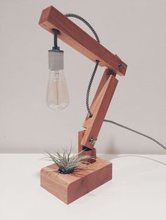 Desk Lamp Hand-made oak articulating desk lamp with airplant and Edison bulb. Hand-made oak articulating desk lamp with