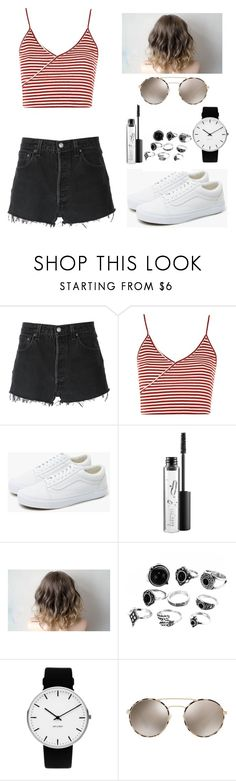 """Untitled #452"" by angela229 ❤ liked on Polyvore featuring RE/DONE, Topshop, Vans, MAC Cosmetics, Rosendahl and Prada"
