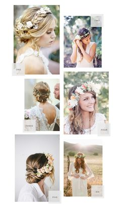 different hairstyle options with crowns. Laura wants a laurel crown when she gets married:) I'm a little obsessed with pinning these for her? a little, yes:)