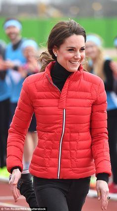Kate paired her £280 quilted ski jacket by Perfect Moment with a pair of black skinny jean...