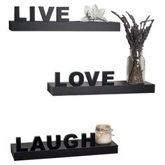 3-Piece Live Love Laugh Wall Shelf Set in Espresso - The Frame Shop on Joss & Main