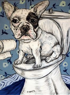 French Bulldog in the bathroom signed dog art print. This Print in on heavyweight Matte paper. The Image has an approximate 1/4 inch white border around it with a printed title on the bottom left below the image as shown in the product sample image.