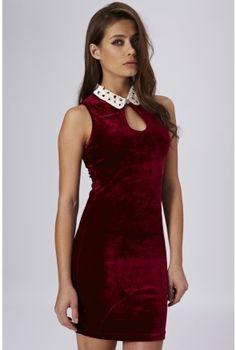 Jewelled Collar Velvet Keyhole Dress - Party Dresses - Clothing