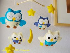 Nursery Owl Mobile - Love that some eyes are closed and some open. Maybe some with one eye open & one closed?