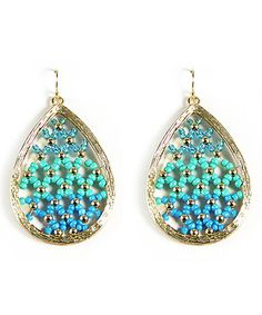 Loving this Gold & Blue Bead Teardrop Earrings on #zulily! #zulilyfinds