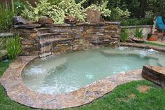 Perfect example of a combo plunge pool/hot tub. Perfect example of a combo plunge pool/hot tub. Visit, www. Small Swimming Pools, Small Pools, Swimming Pools Backyard, Swimming Pool Designs, Backyard Landscaping, Landscaping Ideas, Lap Pools, Indoor Pools, Pool Decks