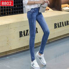 26ad66dd80f Hot Sale Skinny Jeans Woman Autumn New 2017 Pencil Jeans For Women Fashion  Slim Blue Jeans