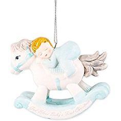 Baby's First Christmas Keepsake Porcelain Rocking Horse Hanging Ornament (Baby Boy - Blue)