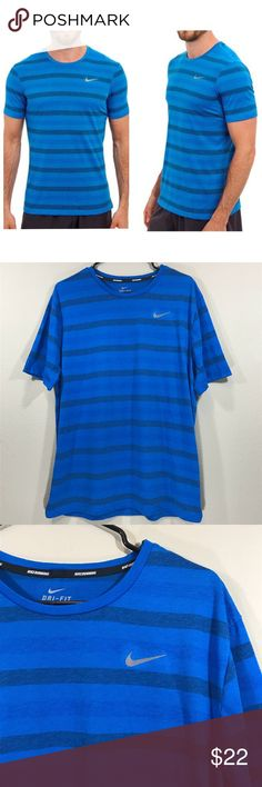 Dri Fit Touch Tailwind Striped Running Shirt w Zip Thanks for viewing my page. Please check out my other items!  Men's Nike Blue Dri Fit Touch Tailwind Striped Running Shirt w/ Zip Pocket Size (check measurements): X-Large  Details: Measurements (approximate/flat/unstretched/not doubled) -Armpit to armpit: 23.25 inches -Length: 29 in Materials: 85% polyester, 15% cotton, exclusive of decoration machine wash cold Imported  Condition: Preowned, good condition. Minimal signs of wear  Shipped…