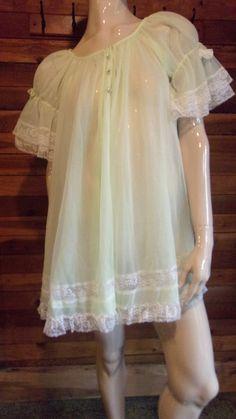 Vintage Miss Elaine Chiffon Lingerie Nightie Shift White 1960s Size Medium