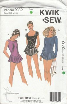 Kwik Sew 2932 Misses Stretch Fabric Leotards Ice Skating Costume Attached Cicular Gathered Skirt Size XS S M L XL Uncut Sewing Pattern. Designed by Kerstin Martensson, this pattern will allow you to make a stunning ice-skating costume. Misses' leotards with circular skirts have necklines and leg openings finished with elastic. View A and B have boat neckline on front and scoop neckline on back. View A has full-length sleeves. View B is sleeveless and the armholes are finished with elastic…
