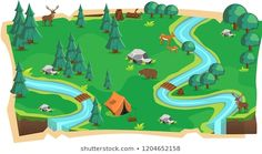 Forest Jungle Game Maps and Green land with Bear, Mouse Deer, Tent, Rivers, stone and Trees for Platform Vector Illustration Mouse Deer, Royalty Free Images, Royalty Free Stock Photos, Character Design Tutorial, Map Vector, Local Artists, New Image, Rivers, 2d