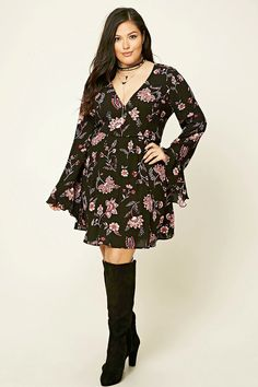 Forever 21+ - A crinkled woven mini dress featuring a floral print, a surplice neckline with a snap closure, long flounce sleeves, and a slightly flared skirt.